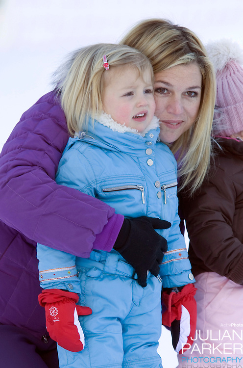 Crown Princess Maxima of Holland with Daughter Princess Alexia, attend a Photocall with Members of The Dutch Royal Family during their Winter Ski Holiday in Lech Austria