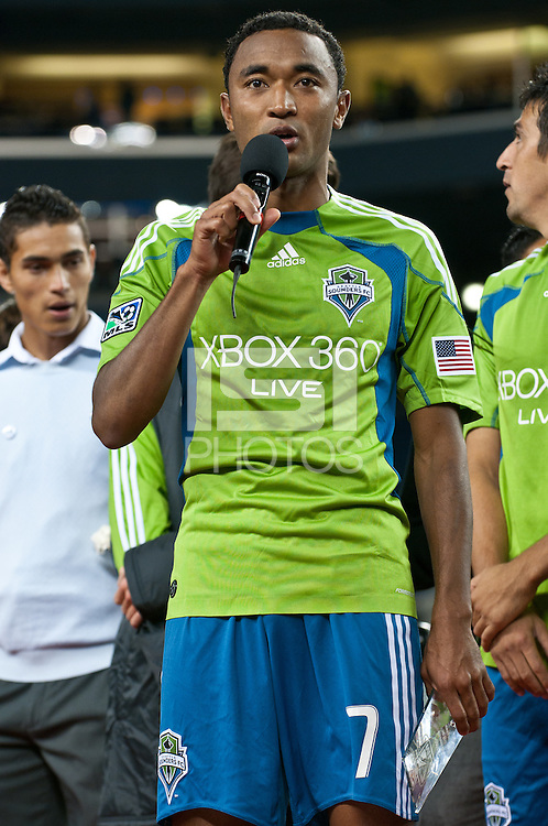 James Riley of the Seattle Sounders receives the Team Humanitarian award after the Sounders defeated Chivas USA 2-1 at the XBox 360 Pitch at Quest Field in Seattle, WA on October 15, 2010.