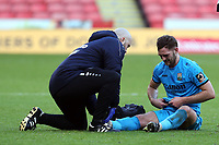Charlee Adams of Barnet is treated for an injury during Sheffield United vs Barnet, Emirates FA Cup Football at Bramall Lane on 6th January 2019