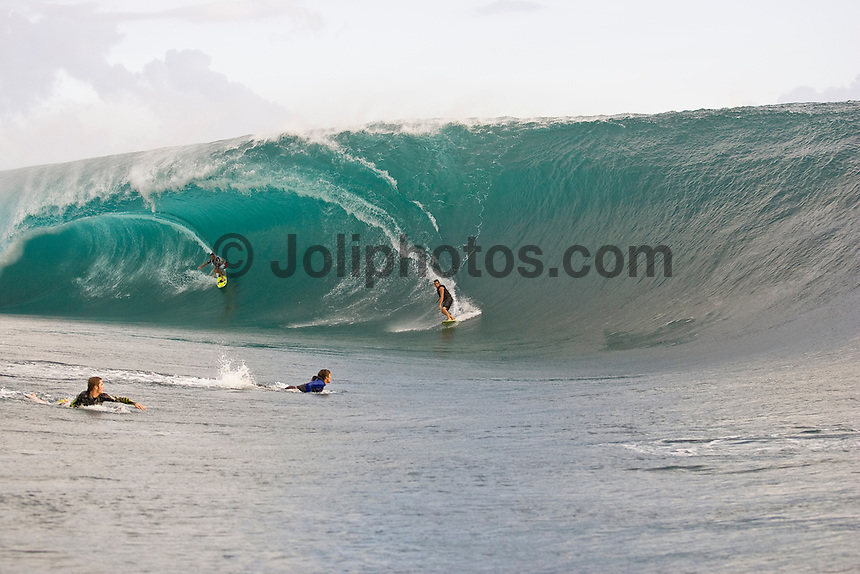 Surfing at the infamous Teahupoo located at the End of The Road on the south west corner of Tahiti Iti in French Polynesia.  Photo: Joli