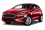 Stock pictures of low aggressive front three quarter view of a 2017 Ford Fiesta Titanium 3 Door Hatchback