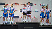26th January 2020; National Cycling Centre, Manchester, Lancashire, England; HSBC British Cycling Track Championships; Women's Team Sprint medallists from L to R - Lucy Grant, Lusia Steele Scotland B silver, Blaine Ridge Davies, Millicent Tanner Slingshot gold, Lauren Bell Ellie Stone Scotland A bronze