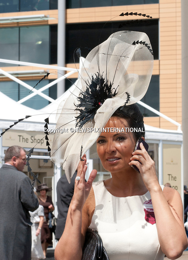 "ROYAL ASCOT 2011 LADIES DAY..Fashion and Hats. Royal Ascot_16/06/2011..Mandatory Photo Credit: ©Dias/Newspix International..**ALL FEES PAYABLE TO: ""NEWSPIX INTERNATIONAL""**..PHOTO CREDIT MANDATORY!!: NEWSPIX INTERNATIONAL(Failure to credit will incur a surcharge of 100% of reproduction fees)..IMMEDIATE CONFIRMATION OF USAGE REQUIRED:.Newspix International, 31 Chinnery Hill, Bishop's Stortford, ENGLAND CM23 3PS.Tel:+441279 324672  ; Fax: +441279656877.Mobile:  0777568 1153.e-mail: info@newspixinternational.co.uk"