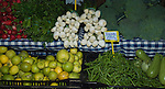 Spring onions, .lemons,beans,courgettes, radishes, beans and brocoli on vegetable market stall.Tenerife Canary Islands.