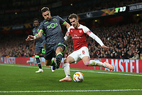 Arsenal's Aaron Ramsey and Sporting CP's Sebastian Coates<br /> <br /> Photographer Rob Newell/CameraSport<br /> <br /> UEFA Europa League Group E - Arsenal v Sporting CP - Thursday 8th November 2018 - Arsenal Stadium - London<br />  <br /> World Copyright © 2018 CameraSport. All rights reserved. 43 Linden Ave. Countesthorpe. Leicester. England. LE8 5PG - Tel: +44 (0) 116 277 4147 - admin@camerasport.com - www.camerasport.com