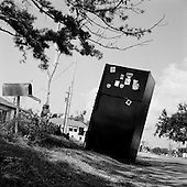 New Orleans, Louisiana.May 26, 2006..A black refrigerator in the streets of east New Orleans..