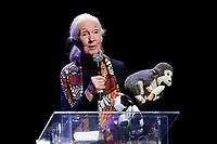 Jane Goodall holds a plush Chimpanzee <br /> Roma 11/05/2017. Lectio Magistralis dell'etologa Jane Goodall, ospite al National Geographic Festival delle Scienze<br /> Rome 11th May 2017. Lectio Magistralis of the ethologist Jane Goodall, guest at the National Geographic Science Festival 2017.<br /> Foto Samantha Zucchi Insidefoto
