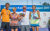 Etten-Leur, The Netherlands, August 27, 2017,  TC Etten, NVK, Winners mixed 55+ , Carole de Bruin / Patrick Marteijn (R) and runners up Lucienne van den Broek / Just Palm<br /> Photo: Tennisimages/Henk Koster
