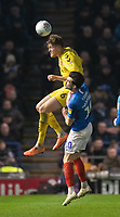 Fleetwood Town's Harry Souttar (left) battles with Portsmouth's John Marquis (right) <br /> <br /> Photographer David Horton/CameraSport<br /> <br /> The EFL Sky Bet League One - Portsmouth v Fleetwood Town - Tuesday 10th March 2020 - Fratton Park - Portsmouth<br /> <br /> World Copyright © 2020 CameraSport. All rights reserved. 43 Linden Ave. Countesthorpe. Leicester. England. LE8 5PG - Tel: +44 (0) 116 277 4147 - admin@camerasport.com - www.camerasport.com