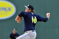 Pitcher Tyler Badamo (16) of the Columbia Fireflies delivers a pitch in a game against the Greenville Drive on Saturday, April 23, 2016, at Fluor Field at the West End in Greenville, South Carolina. Columbia won, 7-3. (Tom Priddy/Four Seam Images)