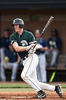 Catcher Charlie Carpenter (36) of the University of South Carolina Upstate Spartans bats in a game against the Pittsburgh Panthers on Saturday, February 24, 2018, at Cleveland S. Harley Park in Spartanburg, South Carolina. Pittsburgh won, 3-1. (Tom Priddy/Four Seam Images)