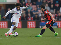 Bournemouth's Adam Smith (R) battles with Chelsea's Willian (L)<br /> <br /> Bournemouth 1 - Chelsea 3<br /> <br /> Photographer David Horton/CameraSport<br /> <br /> The Premier League - Bournemouth v Chelsea - Saturday 8th April 2017 - Vitality Stadium - Bournemouth<br /> <br /> World Copyright &copy; 2017 CameraSport. All rights reserved. 43 Linden Ave. Countesthorpe. Leicester. England. LE8 5PG - Tel: +44 (0) 116 277 4147 - admin@camerasport.com - www.camerasport.com