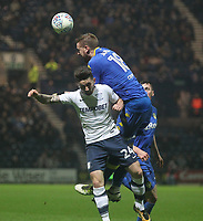 Preston North End's Sean Maguire jumps with Leeds United's Pontus Jansson<br /> <br /> Photographer Mick Walker/CameraSport<br /> <br /> The EFL Sky Bet Championship - Preston North End v Leeds United - Tuesday 10th April 2018 - Deepdale Stadium - Preston<br /> <br /> World Copyright &copy; 2018 CameraSport. All rights reserved. 43 Linden Ave. Countesthorpe. Leicester. England. LE8 5PG - Tel: +44 (0) 116 277 4147 - admin@camerasport.com - www.camerasport.com