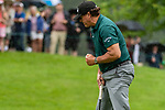 CROMWELL, CT. 20 June 2019-062019 - PGA Tour player Phil Mickelson gives a fist pump after making a birdie on the tough par four fourth hole, during the first round of the Travelers Championship at TPC River Highlands in Cromwell on Thursday. Bill Shettle Republican-American