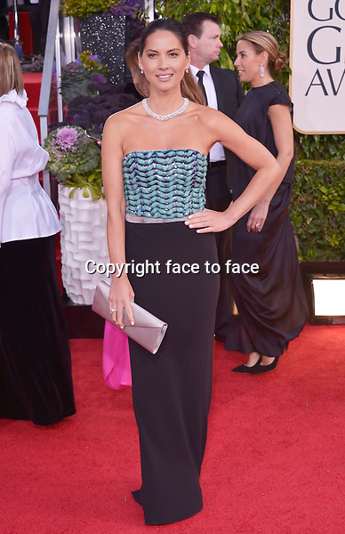 Olivia Munn arriving at the 70th Annual Golden Globe Awards held at The Beverly Hilton Hotel on January 13, 2013 in Beverly Hills, California...credit: face to face