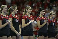 16 December 2006: Stanford Cardinal Michelle Mellard during Stanford's 30-27, 26-30, 28-30, 27-30 loss against the Nebraska Huskers in the 2006 NCAA Division I Women's Volleyball Final Four Championship match at the Qwest Center in Omaha, NE.