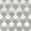 Addison, a waterjet cut stone mosaic, shown in polished Snow White, Desert Sky with honed Palomar, is part of the Semplice® collection for New Ravenna.