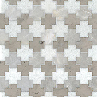 Addison, a waterjet cut stone mosaic, shown in polished Snow White, Desert Sky with honed Palomar, is part of the Semplice™ collection for New Ravenna.