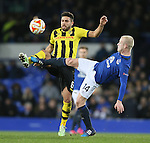 Leonardo Bertone of BSC Young Boys tussles with Steven Naismith of Everton - UEFA Europa League Round of 32 Second Leg - Everton vs Young Boys - Goodison Park Stadium - Liverpool - England - 26th February 2015 - Picture Simon Bellis/Sportimage