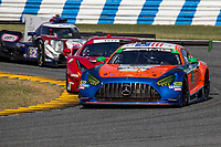 DAYTONA BEACH, FL - JAN 24: The #74 Mercedes AMG GT3 of Gar Robinson, Lawson Aschenbach, Ben Keating, and Felipe Fraga, of Brazil, leads a pack of cars during practice before the Rolex 24 at Daytona at Daytona International Speedway, Daytona Beach, Florida,  January 24, 2020. (Photo by Brian Cleary/BCPix.com)