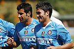 Inter Milan's Luis Figo and Luis Jimenez