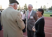 The Occidental community celebrates its student-athletes with the induction of the sixth class into the Occidental College Athletics Hall of Fame during Homecoming and Family Weekend on Friday, Oct. 13, 2017 in Jack Kemp Stadium. The 2017 inductees are Stephen Haas '63 (track and field), the 1982 women's tennis team (NCAA national champions), Blair Slattery '94 (basketball and tennis), and the late Andy Collins '07 (football, track and field).<br /> (Photo by Marc Campos, Occidental College Photographer)