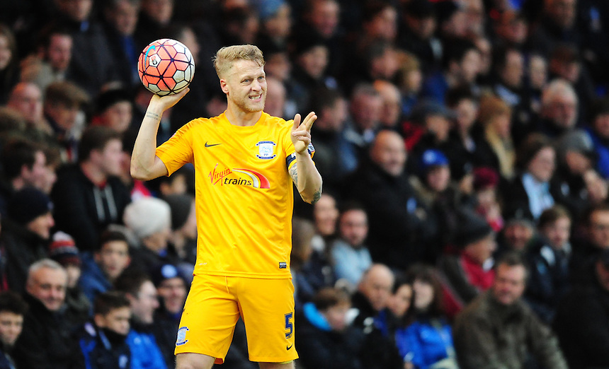 Preston North End's Tom Clarke<br /> <br /> Photographer Chris Vaughan/CameraSport<br /> <br /> Football - The FA Cup Third Round - Peterborough United v Preston North End - Saturday 9th January 2016 - ABAX Stadium - Peterborough <br /> <br /> &copy; CameraSport - 43 Linden Ave. Countesthorpe. Leicester. England. LE8 5PG - Tel: +44 (0) 116 277 4147 - admin@camerasport.com - www.camerasport.com