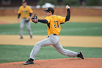 Towson Tigers starting pitcher Kevin Ross (27) delivers a pitch to the plate against the Wake Forest Demon Deacons at Wake Forest Baseball Park on March 1, 2015 in Winston-Salem, North Carolina.  The Demon Deacons defeated the Tigers 15-8.  (Brian Westerholt/Four Seam Images)