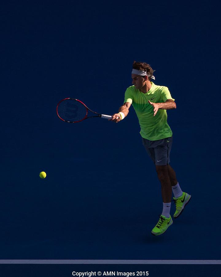 Roger Federer (SUI)<br /> <br /> Tennis - Australian Open 2015 - Grand Slam -  Melbourne Park - Melbourne - Victoria - Australia  - 21 January 2015. <br /> &copy; AMN IMAGES