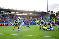 Dave Attwood of Bath Rugby runs in the opening try of the match. Pre-season friendly match, between Leinster Rugby and Bath Rugby on August 26, 2016 at Donnybrook Stadium in Dublin, Republic of Ireland. Photo by: Patrick Khachfe / Onside Images