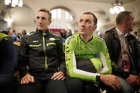 Ivan Basso (ITA/Cannondale) waiting for his team to hit the stage<br /> <br /> Giro d'Italia 2014<br /> Opening Ceremony