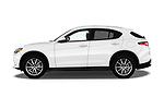 Car driver side profile view of a 2018 Alfa Romeo Stelvio Ti 5 Door SUV