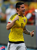 BARRANQUILLA - COLOMBIA -08-10-2015: James Rodriguez jugador de Colombia celebra después de anotar un gol a Bolivia durante partido de la fecha 13 para la clasificación a la Copa Mundial de la FIFA Rusia 2018 jugado en el estadio Metropolitano Roberto Melendez en Barranquilla. /  James Rodriguez  player of Colombia celebrates after scoring a goal to Bolivia during match of the date 13 for the qualifier to FIFA World Cup Russia 2018 played at Metropolitan stadium Roberto Melendez in Barranquilla. Photo: VizzorImage / Inaldo Perez / Cont
