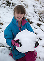29/01/17<br /> <br /> Following overnight snowfall, Freya Kirkpatrick (9) builds a snowman on Axe Edge Moor near Buxton in the Derbyshire Peak District.<br /> <br /> All Rights Reserved F Stop Press Ltd. (0)1773 550665 www.fstoppress.com
