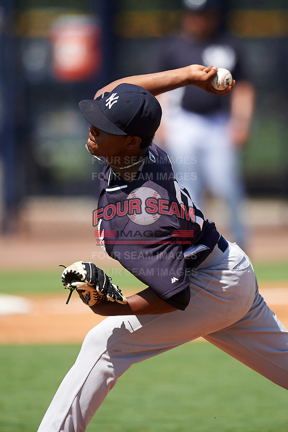 GCL Yankees West relief pitcher Leonardo Garcia (28) during a game against the GCL Yankees East on August 3, 2016 at the Yankees Complex in Tampa, Florida.  GCL Yankees East defeated GCL Yankees West 12-2.  (Mike Janes/Four Seam Images)