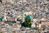 Fes, Morocco.  Old City (Fes El-Bali), Zawiya of Moulay Idris (center, with tiled minaret).
