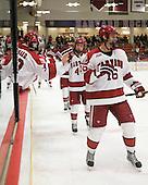 Alex Fallstrom (Harvard - 16), Max Everson (Harvard - 44) - The Harvard University Crimson defeated the University of New Hampshire Wildcats 7-6 on Tuesday, November 22, 2011, at Bright Hockey Center in Cambridge, Massachusetts.
