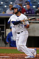 Tulsa Drillers Tyler Ogle (24) swings during the game against the Northwest Arkansas Naturals at Oneok Field on May 2, 2016 in Tulsa, Oklahoma.  Northwest Arkansas won 9-6.  (Dennis Hubbard/Four Seam Images)