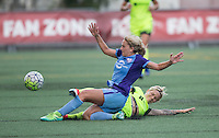 Seattle, WA - Saturday July 23, 2016: Camille Levin, Jessica Fishlock during a regular season National Women's Soccer League (NWSL) match between the Seattle Reign FC and the Orlando Pride at Memorial Stadium.