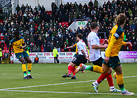 9th February 2020; Broadwood Stadium, Cumbernauld, North Lanarkshire, Scotland; Scottish Cup Football, Clyde versus Celtic; Vakoun Issouf Bayo of Celtic makes it 3-0 to Celtic in the 90th minute