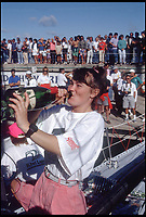 BNPS.co.uk (01202 558833)<br /> Pic: BarryPickthall/PPL/BNPS<br /> <br /> ***Please use full byline*** <br /> <br /> 1985/6 Whitbread Round the World Yacht Race: Tracy Edwards, skipper of 'Maiden' accepts the victor's champagne  on arrive at Fort Lauderdale.<br /> <br /> A boat that sailed into the history books 27 years ago but subsequently ran to ruin has been rescued by its former skipper and is now due to arrive home. <br /> <br /> Sailing heroine Tracy Edwards hit headlines in 1990 after leading the first all-female crew to the finish line of the prestigious Whitbread Round the World Race.<br /> <br /> When Miss Edwards, 54, checked up on the boat, called Maiden, in 2014 she was &quot;shocked&quot; and &quot;saddened&quot; to find it in a state of complete disrepair. <br /> <br /> After a successful fundraising campaign Maiden is scheduled to take to the seas once again June 2018 after being returned to her to her former glory.