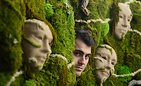 BNPS.co.uk (01202 558833)<br /> Pic: ZacharyCulpin/BNPS<br /> <br /> Living art artist Noah McKeown with his latest Moss-terpiece.<br /> <br /> The award winning Dorset based artist has started creating living landscapes using preserved moss and succulent's beautifully framed in discarded picture frames.<br /> <br /> Despite their verdent appearance the finished works require no watering, and will happily sit on a wall for years.