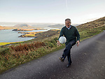 4-1-2017: Fit as a fiddle.... Legendary Kerry footballer Mick O'Connell still well able to field the high ball on his 80th birthday on Valentia Island on Wednesday.<br /> Photo Don MacMonagle