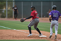 Arizona Diamondbacks first baseman Francis Martinez (30) makes a play at first base ahead of David Dahl (36) during an Extended Spring Training game against the Colorado Rockies at Salt River Fields at Talking Stick on April 16, 2018 in Scottsdale, Arizona. (Zachary Lucy/Four Seam Images)