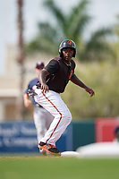 GCL Orioles left fielder Jacob Brown (15) leads off second base during the first game of a doubleheader against the GCL Twins on August 1, 2018 at CenturyLink Sports Complex Fields in Fort Myers, Florida.  GCL Twins defeated GCL Orioles 7-6 in the completion of a suspended game originally started on July 31st, 2018.  (Mike Janes/Four Seam Images)
