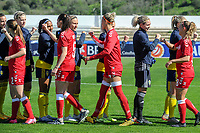 20200307  Lagos , Portugal : giving fists and elbows instead of hand because of the cov19 corona virus pictured during the female football game between the national teams of Sweden and Denmark on the second matchday of the Algarve Cup 2020 , a prestigious friendly womensoccer tournament in Portugal , on saturday 7 th March 2020 in Lagos , Portugal . PHOTO SPORTPIX.BE | STIJN AUDOOREN