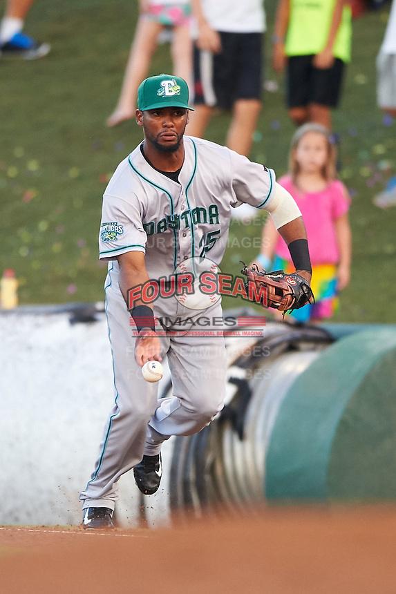 Daytona Tortugas first baseman Robert Ramirez (25) flips the ball to the pitcher covering the bag after fielding a ground ball during a game against the Fort Myers Miracle on June 17, 2015 at Hammond Stadium in Fort Myers, Florida.  Fort Myers defeated Daytona 9-5.  (Mike Janes/Four Seam Images)