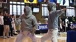11 February 2017: UNC's Connor Ritchey (left) and Duke's Peter Yang (right) react to a ruling during Saber. The Duke University Blue Devils hosted the University of North Carolina Tar Heels at Card Gym in Durham, North Carolina in a 2017 College Men's Fencing match. Duke won the dual match 19-8 overall, 6-3 Foil, 6-3 Epee, and 7-2 Saber.