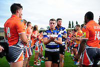 George Ford of Bath Rugby leads his team off the field after the match. Aviva Premiership match, between Bath Rugby and Newcastle Falcons on September 10, 2016 at the Recreation Ground in Bath, England. Photo by: Patrick Khachfe / Onside Images