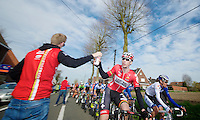 Boris Vallée (BEL) grabbing a bidon in the feedzone<br /> <br /> Nokere Koerse 2014
